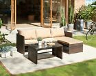 Rattan Garden Furniture Sofa Set Brown Or Black Patio Outdoor Corner Lounge Seat