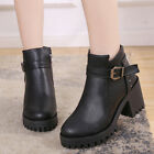 Womens Buckle Ankle Boots Chunky High Heels Round Toe Side Zip Casual Women Shoe