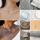 Charm Gold Love Heart Pearl Multilayer Pendant Women Choker Necklaces Jewelry