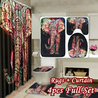 Colorful Elephant Shower Curtain Non-Slip Bathroom Mat Pedestal Rug Toilet Cover