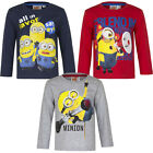 New Pullover Long Sleeve Shirt Boys Minions Grey Blue Red 98 104 116 128 90