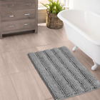Bathroom Rugs By Zebrux extra-Soft Striped Non-Slip Shower Bath Mat set