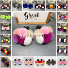 Female Summer Fashion Real Raccoon Fur Slippers Pompom Ball Slippers Multicolor