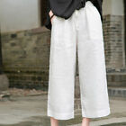 New Women's Literary Stretch Waist Washed Linen Cropped Trousers Wide-leg Pants