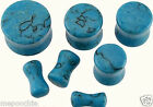 """Plugs Pair of Turquoise Stone Saddles 1/2"""" to 8G Pick Your Size"""