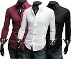 Mens Luxury Casual Slim Fit Stylish Dress Shirts US Size S,M,L,XL 3 Colours ST08