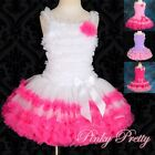 Girl Hot Pink Ruffle Dress Pettiskirt Top Tutu Dance Birthday Age 2y-8y PP100A