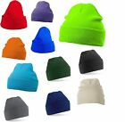 MB SOFT FEEL KNITTED BEANIE CAP BEANY WINTER TURN UP HAT 14 COLOURS QUICK POST!