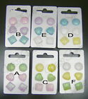 14mm GLITTER ACRYLIC STUD EARRINGS NO METAL ALL PLASTIC SET OF 3 PAIRS