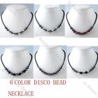 6 Color Black Hematite Pave Crystal Disco Hip Hop Ball Necklace 1pc Jewelry Gift