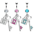 Surgical Stainless Steel Dangling Lock & Key Navel Ring 3 Colors
