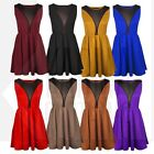 WOMENS SLEEVELESS SPACE MESH TAILORED SKATER DRESS LADIES DRESS TOP- 5 colors
