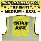 THINK BIKE MOTORCYCLE High Visibility Hi Viz HV Vest Yellow