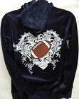 KATYDID Hoodie Velour Set Football Print Rhinestone Sports Mom Fashion