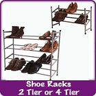 2/4 Tier Extending Shoe Rack Shelf Stand Metal Storage Stackable Organiser