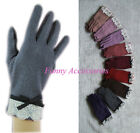 Wool Acrylic Blend Knit Wooven Gloves Lace Bow Tie Trim Cuff Strechy