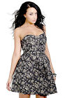 New Sexy Black Strapless Black & Gold Mini Evening Party Dress Sizes 8 or 10