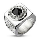 Stainless Steel Large Black Faceted CZ w/ Multi-CZ Ring Size 9-14