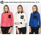 LADIES PLUS SIZE 12 - 16 COLLAR BLOUSE SHIRT LACE OFFICE FORMAL TUNIC TOP DRESS