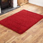 SMALL - EXTRA LARGE THICK 5CM HIGH PILE RED LUXURIOUS NON-SHEDDING SHAGGY RUG