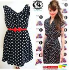 LADIES POLKA DOT DRESS SKATER TEA TUNIC BLOUSE TOP SUMMER SHIRT VINTAGE SHOP SML
