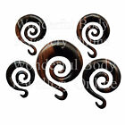 "1 x Ebony Wood Spiral with a Flick Ear Plug Choice of Gauge 2G-9/16"" 6mm-14mm"