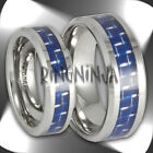 His & Her Bands Tungsten & Blue Carbon Fiber Wedding Ring Set NEW