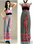 NWT Wishes Twin Print Border Halter High Waist Built in Padded Bra Belted