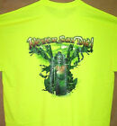 NEVER SAY DIE Biker Skull Dude T Shirt Safety Green Sz Sm - 6XL High Visibility