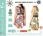 RETRO LADY DRESS NAUTICAL STRIPE SCARF PRINT DENIM SHIFT TUNIC MINI SKATER BEACH