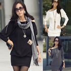Zipper Shoulder Women Batwing Tops Long Sleeve Autumn Casual Mini Dress 353