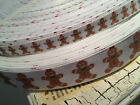 "3/8"" or 7/8"" Christmas GingerBread MAn grosgrain ribbon sold by the yard"