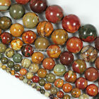 4mm,6mm,8mm Gorgeous Picasso Jasper Round Ball Loose Beads 15.5""