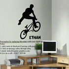LARGE PERSONALISED BMX TRICK TEENAGE WALL ART BEDROOM STICKER TRANSFER DECAL