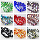 50~100pcs 6mm Cube Square Glass Crystal Loose Spacer Beads Charms Findings
