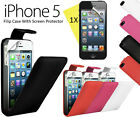 Executive PU Leather Flip Case Cover for Apple iPhone 5 -Black, Pink, Red, White