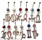 Zodiac Crystal Gem Belly Bar - Medium Bar - 8mm - Choose your Zodiac Sign
