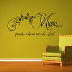 Large Quote Music Speaks Words Fail Wall Art Sticker Transfer Decal