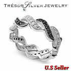womens sterling silver black clear cz eternity wedding band ring size 5 6 7 8 9