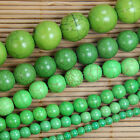 "Green Howlite Turquoise Gemstone Round Beads 15.5"" 4 6 8 10 12 16mm Pick Size"