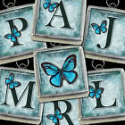Initial Letter Blue Butterfly Silver Soldered Necklace Charm/Pendant BLU-ALL