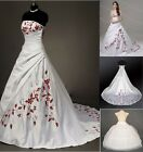 New White and Red A-line Bride Wedding Dress Bridal Gown Size 6 8 10 12 14 16 18