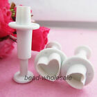 3pcs Mini Heart Fondant Tool Cookies Cake Decorating Plunger Cutter Mould