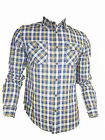 Mens Blue Check Fitted John Tungatt Designer Shirt
