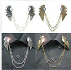 Retro Angel Feather Wing Crystal Chain Shirt Blouse Collar Neck Tips Brooch Pin