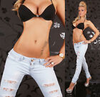 Sexy Women's Skinny Jeans Destroyed Look Light Blue Lace Jeans Size 8-14