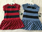 NWT Nautica GIRL sizes 2T 4T jersey cotton striped dress RED or BLUE NEW $34.50