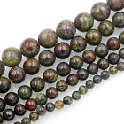 """Natural African BloodStone Round Gemstone Beads 15.5"""" 6,8,10,12,14mm Pick Size"""