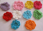"""EXTRA LARGE CROCHET FLOWERS - 2 of ONE COLOUR.  Apprx 2.5"""" wide each. 10 colours"""