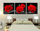 Love Of Red Roses Modern Decorative Wall Canvas Print Set Of 3 Can Add Clock